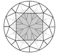 Round Brilliant Diamond showing the nailhead effect