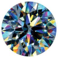 Round brilliant diamond showing fire
