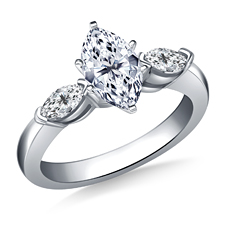 B2C Jewels marquise engagement ring with side stones