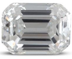 Emerald cut diamond with color E