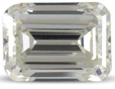 Emerald cut diamond with colour I
