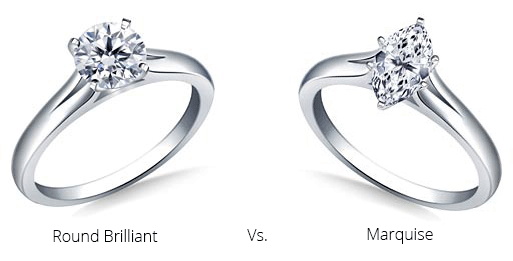 Image showing a round brilliant and a marquise diamond engagement ring