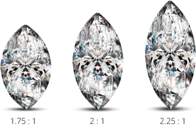 Different length width ratios for marquise cut diamonds