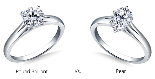 image of a round brilliant and pear shaped engagement ring