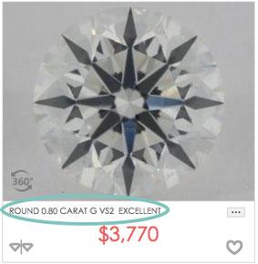 0.8 carat round brilliant diamond