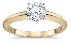 4 prong gold solitaire diamond engagement ring