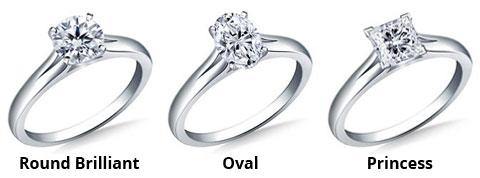image showing round brilliant engagement ring, oval engagement ring and princess cut engagement ring