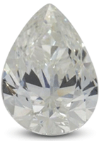 Pear diamond showing concentration of color at tip