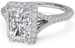 V shank pave engagement ring with cushion cut diamond