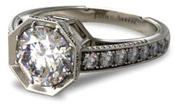 art nouveau platinum engagement ring