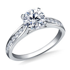 cathedral channel set diamond solitaire engagement ring