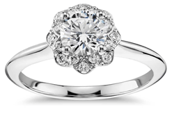 diamond engagement ring with floral halo setting