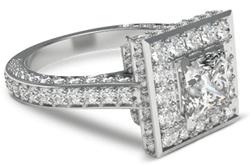 Square halo engagement ring in platinum
