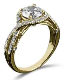 yellow gold diamond solitaire engagement ring with pave bypass setting