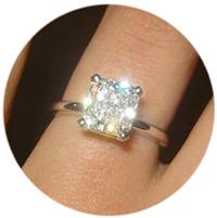 Radiant diamond with great sparkle