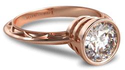 Rose gold vintage style bezel engagement ring