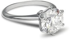 6 prong solitaire diamond engagement ring in palladium setting
