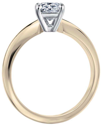 Yello gold engagement ring with a white gold head