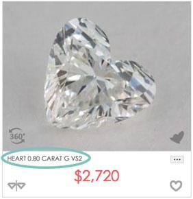 0.8 carat heart shaped diamond