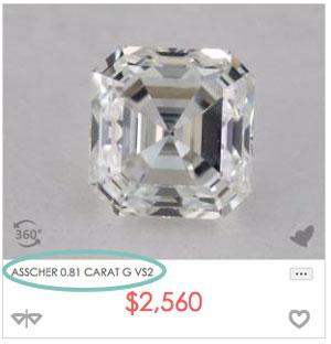 0.8 carat asscher diamond