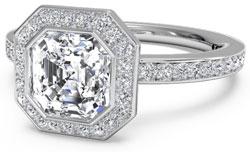 Asscher diamond halo engagement ring
