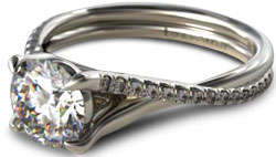 Crossover pave diamond engagement ring