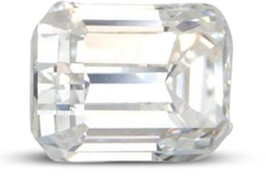 Emerald cut diamond with good polish flashing light