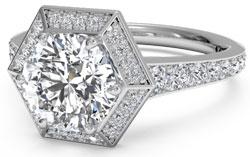 Halo set diamond engagement ring with hexagonal halo