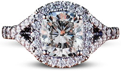 pave diamond engagement ring with split shank setting