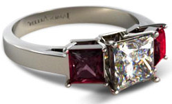Princess cut diamond engagement ring with princess cut ruby side stones