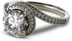pave engagement ring with a vintage spiral setting