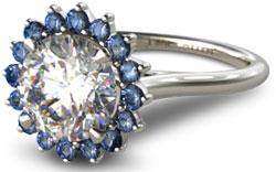 diamond halo engagement ring with sapphire starburst halo setting