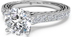 Pave engagement ring with braided setting