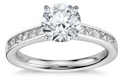 diamond engagement ring with channel set band