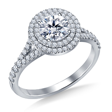 diamond engagement ring with double halo setting