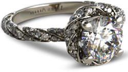 vintage style halo diamond engagement ring