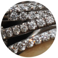close up image of pave ring setting