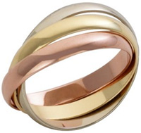 rose gold, yellow gold and white gold rings together