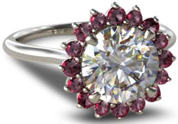 diamond engagement ring with ruby halo setting