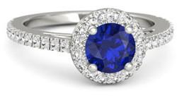 Platinum engagement ring withe sapphire center stone