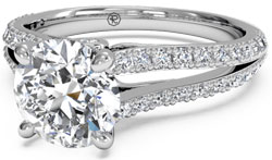 Diamond engagement ring with split shank pave setting