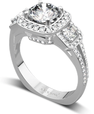 Diamond three stone asscher halo engagement ring