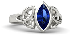 Celtic marquise sapphire engagement ring