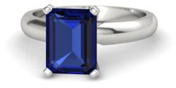 Emerald cut sapphire engagement ring