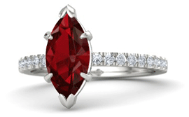 Marquise ruby engagement ring with diamond pave band