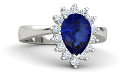 Pear sapphire engagement ring with halo