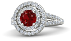 Round ruby engagement ring with double halo