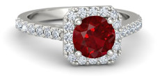 Round ruby engagement ring with square halo