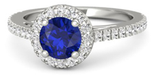 Round sapphire engagement ring with halo