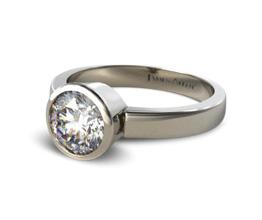 Bezel Set Round Shaped Diamond Solitaire Ring